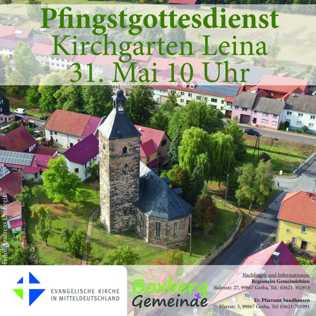 Plakat Pfingstgottedienst 31.5.20 um 10 Uhr im Kirchgarten Leina